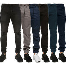 Enzo Mens Cuffed Jeans Chinos Stretch Fit Ripped Denim Jogger Pants All Waists
