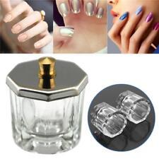 PRO Crystal Glass Nail Art Acrylic Dappen Dish Bowl Cup Liquid Powder Tools+Lid