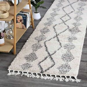 Sefrou Ethnic Tribal Cream Grey Moroccan Rug Runner - 2 Sizes **FREE DELIVERY**