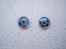 *pentagram Star Blue Black Domed* Glass Stud 12mm SP Earrings Wicca Pagan