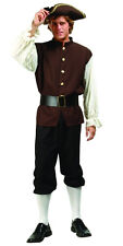 ADULT COLONIAL MENS COSTUME JOHN ADAMS US HISTORY PLAY W/ TRI-CORNER HAT BROWN