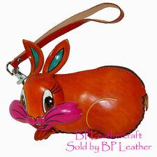 Real Leather Change Purse, Mini Wallet, Lovely Happy Rabbit Shape,Unique Purse