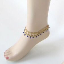 NEW HANDMADE GOLD BLUE SEED BEADED STRETCHABLE BEACH FASHION BAREFOOT ANKLET