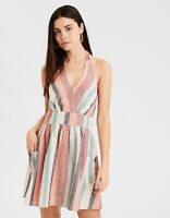 American Eagle Multi-Colored Stripe Halter Dress Womens Size XL New With Tags