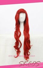 Disney the Little Mermaid Ariel cosplay wig costume red colour 90CM