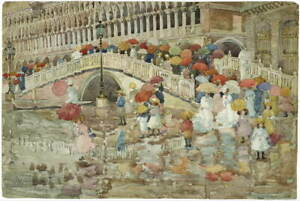 Maurice Prendergast Umbrellas In The Rain Giclee Paper Print Poster Reproduction