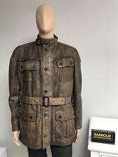 Barbour Vintage International Leather Belted Biker Panther Jacket Brown Large L
