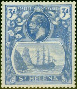 St Helena 1923 3d Bright Blue SG101b Torn Flag Fine LMM