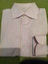 GIANLUCA ISAIA - MUTED BLUE/ORANGE  STRIPE COTTON DRESS SHIRT - SIZE 16