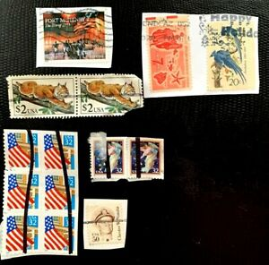 US Stamps 32c Flags, 2482 ($2 Bobcat ) , bird airmail, Forever, #1869 50c Used