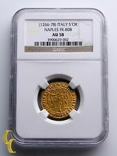 1266-1278 Italy Saluto d'oro Charles Gold Coin Naples FR-808 Graded by NGC AU58