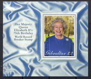Gibraltar 2001 HM Queen Elizabeth II 75th Birthday MNH S/S SC # 880 CV $7.50