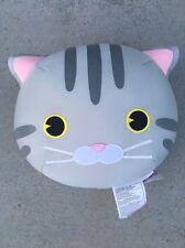 NEW Tokyo Japanese Lifestyle Gray Cat Big Head Beads Cushion Plush Kawaii Cute