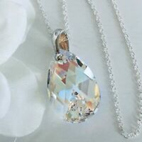 925 Silver Swarovski Elements 22mm Crystal Necklace Pendant Pear Blue AB Gift