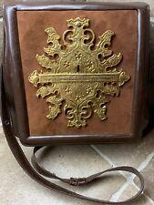 🔥Vintage Countess Pontevel Mexican Leather Handbag Brass Plate UNIQUE & RARE!🔥