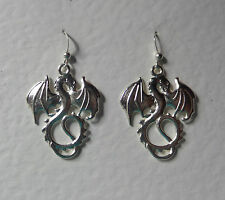 SILVER PLATED DRAGON DROP EARRINGS WYVERN FISH HOOK EARWIRES