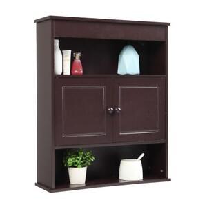 Bathroom Wall Storage Cabinet with Shelf Wooden Medicine Cabinet Brown
