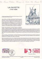 Document philatélique 10-89 1er jour 1989 La Fayette Personnage Historique