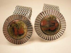 Red & Gold Veined Stone Mesh Wraparound Vintage HICKOK Cuff Links WATCHBAND gift