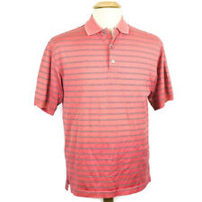 Ping Short Sleeve Coral Striped Polo Golf Shirt Cotton Blend Men's Size Small