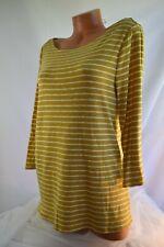 TIME & TRU (XL) Tee Top Boat Neck GOLD Yellow WHITE Stripe Cotton Polyester Knit