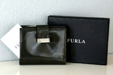 Furla Leather Bifold Wallet Credit Card Holder Silver Logo w/Gift Box Brand New