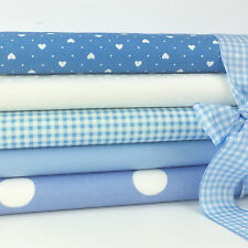 Baby blue 5 piece fabric fat quarter bundle 100% cotton for sewing & craft