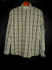 Eddie Bauer Black Tan Plaid Travex Travel Long Sleeve Shirt Men's LT NYZ1*