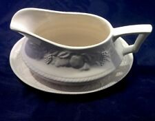 Vintage White Gravy Boat And Dish A1