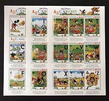 Mali Walt Disney Abc'S With Mickey Stamp Sheets 3 Mnh 1996 A To Z Pluto Abc