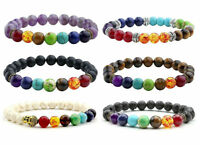 Chakra Bracelet Healing Lava Stone 7 Bead Natural Oil Diffuser Aromatherapy 1pc
