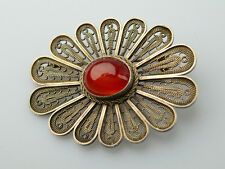VINTAGE HANDWROUGHT STERLING SILVER FILIGREE CARNELIAN OVAL PIN FROM ISRAEL