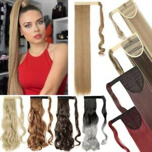 Real Long Clip In Ponytail Pony Tail THICK Hair Extension Wrap On Hair as Human