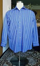 Men's Tommy Hilfiger Regular Fit Blue Stripped Long Sleeve Shirt Size 18 34/35