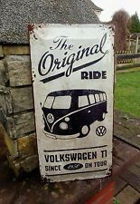 German VOLKSWAGEN BUS VW VAN Samba T1 Embossed LARGE Wall Sign ORIGINAL RIDE