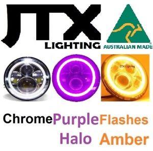"""CHROME JTX 7"""" LED Headlights PURPLE Halo Angel Eye Flashes AMBER on turning"""