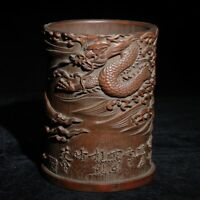 Exquisite old Hand-carved dragon loong and old man statue bamboo Pen Brush pot
