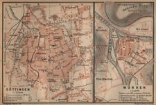 GÖTTINGEN & MÜNDEN antique town city stadtplans. Lower Saxony. BAEDEKER 1904 map
