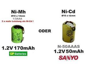 Akku Batterie SANYO N-50AAAS 1.2V50mAh oder Ni-Mh mit 170mAh, mit Lötfahnen...