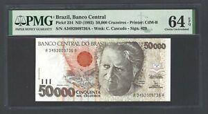 Brazil 50000 Cruzeiros ND (1992) P234 Uncirculated Grade 64