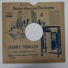 "78rpm 10"" card gramophone record sleeve / cover HARRY MIDGLEY , KEIGHLEY"