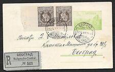 Serbia covers 1910 ERROR Pair uprated R-PC Belgrade