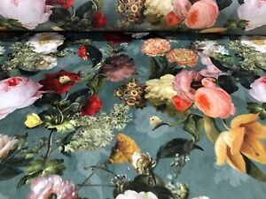 Chateaux Garden Rose Super Soft Velvet Teal140cm wide Curtain/Upholstery Fabric
