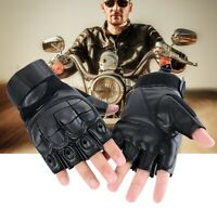 Leather Motorcycle Half Finger Glove Motorbike Motocross Hard Knuckle Fingerless