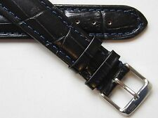 Dark blue croco print quality leather N.O.S. watch band ~ 20 mm