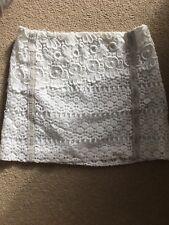 Maje Cream Lace Crochet Mini Skirt With Suede Trim 34