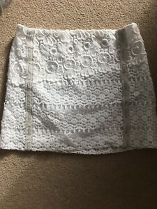 Maje Cream Lace Crochet Mini Skirt With Suede Trim 34