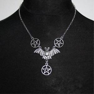 Gothic Bat & Pentagrams Necklace - UK Stock