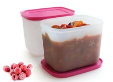 Tupperware Set (2) boites igloo grand froid 1,1l couv rose neuf d x