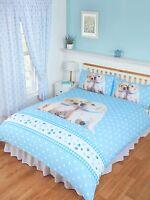 DOUBLE BED DUVET COVER SET LUKE & LEIA CUTE PUPPIES LABRADOR RETRIEVER BLUE